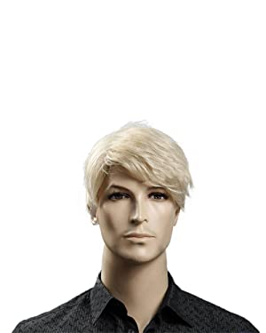 "Kalyss 12"" Short Straight Men's Blonde Color Wig Heat Resistant Synthetic Hair Wig (blonde)"