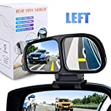 YnGia Blind Spot Mirror, Double Glass Adjustable Rear View Blind Spot Mirror Car Auxiliary Wide Angle Mirrors Side-Angle Side-View Mirror for Universal Cars Truck SUV, 1 Piece (Black-Left)