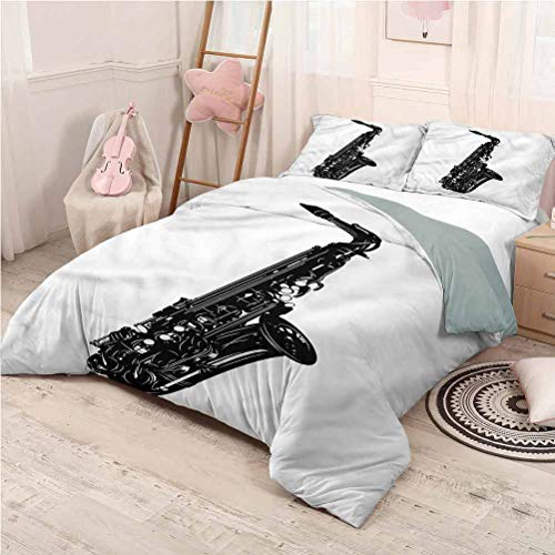 Saxophone Bedding 3-Piece King Bed Sheets Set, Lightweight Microfiber Cover Set Monochrome Style Melody Home Decoration Bedding - King 104'x90'