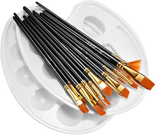 ATMOKO 12 Künstlerpinsel mit 2 Mischpalette, Premium Nylon Pinsel Set für Aquarell, Acryl & Ölgemälde usw. Perfektes Pinsel Set für Anfänger, Kinder, Künstler und Gemälde Liebhaber