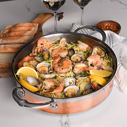 Hestan CopperBond Collection Sauce Pan- 100% Pure Copper Core & Stainless Steel Base, Flared Rims for Drip-Free-Pouring, Made in Italy, 3.5 Quart Sauteuse , Copper