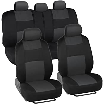 uxcell Unique Flat Cloth Auto Car Seat Cover Headrests Full set Gray SYNCF1000578