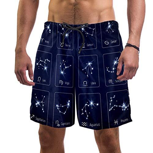 Lorvies Herren-Shorts mit Sternzeichen, Sternbild, Jungfrau, Löwe und Waage, schnell trocknend, Größe L Gr. S 7-9, multi