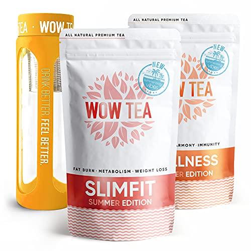 WOW TEA Sommer Schnell wirkender und Diät-Tees : Sommer Detox 21-Tage Tee | Sommer-Schlankheitstee | Reinigungsset mit exotischem Kräutertee & Infuser-Flasche | 300g, 550ml, Made in EU