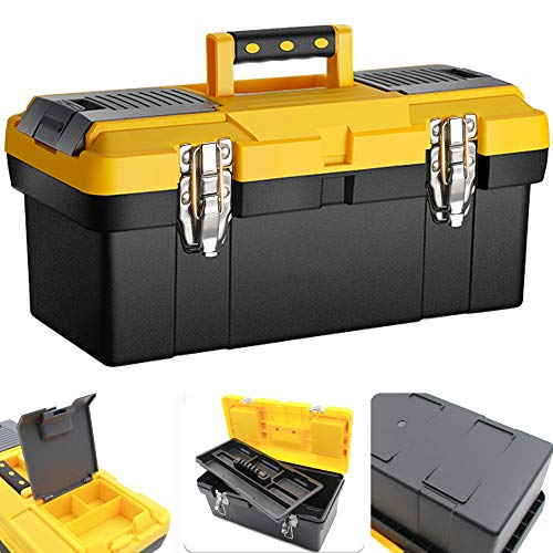 Anyyion 16.5-Inch Toolbox with Removable Tray with Stainless Steel Dual Lock Secured ,Truly Strong and Durable (Black)