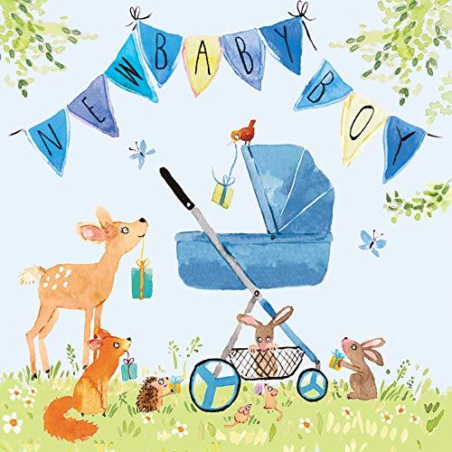 Twizler Glückwunschkarte für Neugeborene mit blauem Kinderwagen, Wimpelkette und Waldtieren – Karte für Jungen – für Neugeborene – Glückwunschkarte – niedliche Karte – Geschenk für Neugeborene