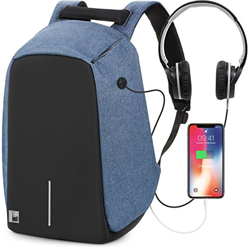 Anti Theft Backpack Lap top Bag with Water Resistant, Business and Travel Computer Bag Back Functional External USB Charge Port for Work School Travel. Improved Design 2018