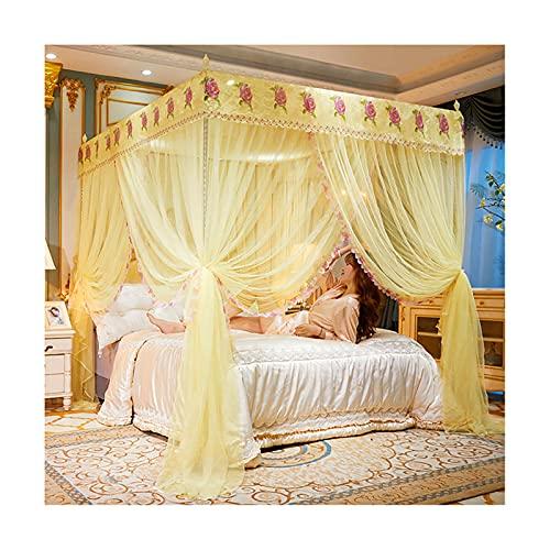 DSMGLRBGZ Mosquitera Cama Tela Dosel, con Marco Cama de 1.5Mx2.0M-Cama de 2.0Mx2.2M para Chicas & Adultos Twin a King Size Bed,Amarillo,1.5mx2.0m Bed