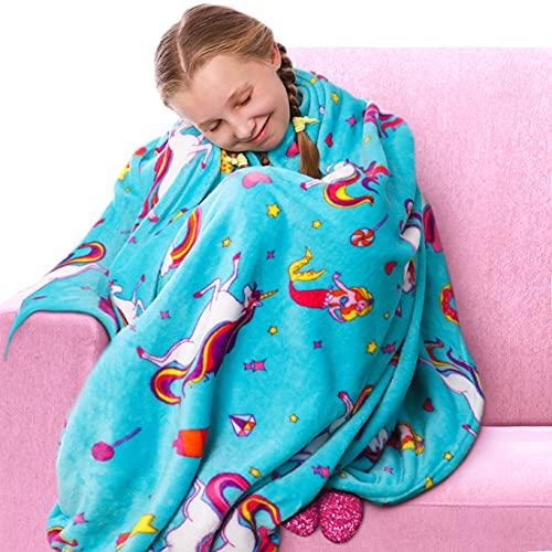 GirlZone Unicorn Fleece Blankets for Girls, Large Fluffy Blankets for Teen Girls with Cute Unicorn...