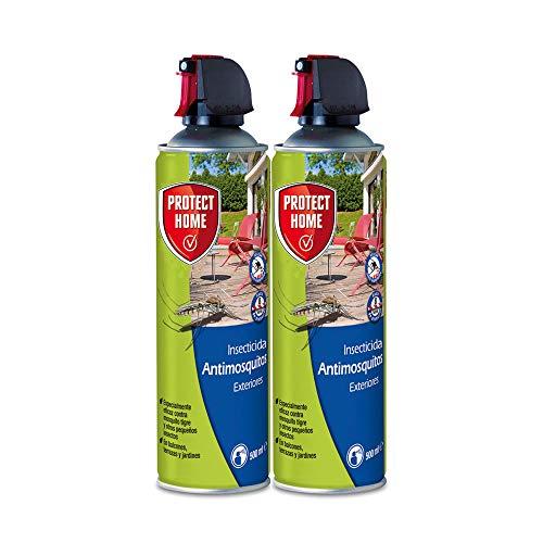 PROTECT HOME Antimosquitos Exteriores, Insecticida Persistente, Ideal para Mosquitos Tigre y Moscas, 500 ml (Pack de 2), Azul