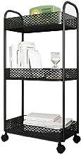 Foyer stojak 3-poziomowy metalowy wózek do przechowywania na kółkach, organizer wózek z kółkami wózek do serwowania biura ...