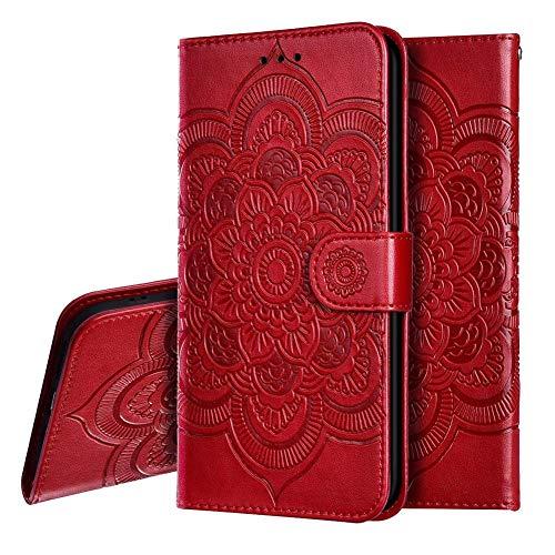 IMEIKONST Xiaomi Mi 8 Lite Funda Embossed Libro de Cuero Billetera Premium Phone Case Flip Folio Card Slot Holder Magnetic Stand Funda para Xiaomi Mi 8 Lite Mandala Red LD