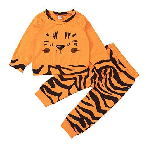 Shiningwe Neugeborene Baby Tiger Bedruckte Langarm Oberteile und Hosen, Baby Mädchen Junge Pullover und Hose Winter warme Outfits Anzug