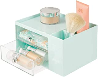 mDesign Plastic Makeup Storage Caddy Box for Bathroom Vanity Countertop - 2 Drawers, 2 Side Compartments, Top Shelf - Organizer Holds Lip Gloss, Blush Palettes, Brushes, Mascara, Lotion - Mint/Clear