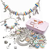 Queta Pulsera de Plata Pulsera para niña Kit de fabricación de Joyas para niña con Cuentas Juego de Regalo para niña 8-12 años (Pink)