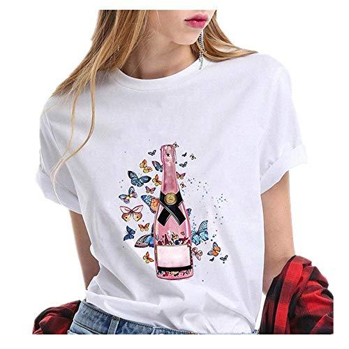 N\P Camiseta de verano para mujer con estampado de copa de vino