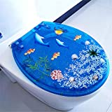 Abattant Wc, Abattant de WC, à abaissement automatique, Fast Fix, charnières en acier inoxydable, design déco, standard O, V, forme U universelle-Dauphin bleu