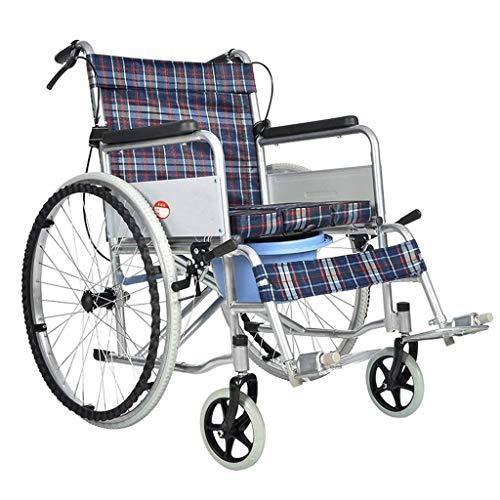 TWL LTD-Wheelchairs Älterer Leichter Rollstuhl Faltbares Universal-Vorderrad Tragbarer Älterer Roller mit Lochtopf und Antirutschpedal, Plaid