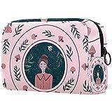 Bolsa de brochas de maquillaje personalizables, bolsas de aseo portátiles para mujer, organizador de viaje de seta y doncella