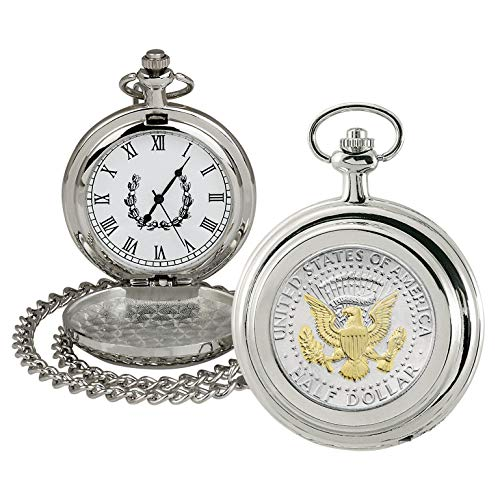 Coin Pocket Watch with Quartz Movement | Presidential Seal JFK Half Dollar | Genuine U.S. Coin | Sweeping Second Hand, Roman Numerals | Silvertone Case | Certificate of Authenticity