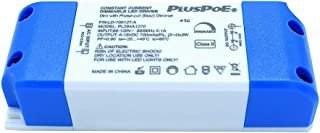 PLUSPOE Triac Dimmable LED Driver Transformer,700 mA Constant Current, 6-15Vdc 12 Watt max Output, High Power Factor, Forward Phase Dimming 100% - 5%