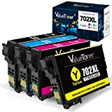 Valuetoner Remanufactured Ink Cartridges Replacement for Epson 702XL 702 XL for Workforce Pro WF-3733 WF-3720 WF-3730 Printer (1 Large Black, 1 Cyan, 1 Magenta, 1 Yellow, 4 Pack)