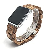 Seoaura Compatible for Apple Watch Band 38mm 40mm, Natural Handmade Wooden Replacement iWatch Series 6 5 4 3 2 1 SE Sports Strap Wristband - Link Remover as a Gift (Zebrawood, 38mm/40mm)