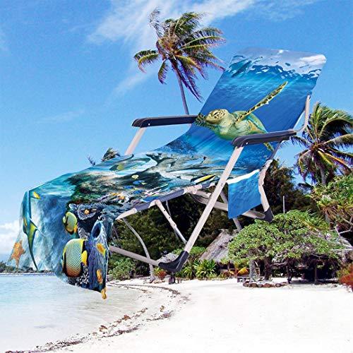 Toalla de Playa de Secado Rápido Funda para Silla de Microfibra Chaise Lounge Toalla con Bolsillos Laterales para Piscina Tumbona Hotel Jardín,Patrón de Delfín Tortuga Estrella de Mar (Azul 2)