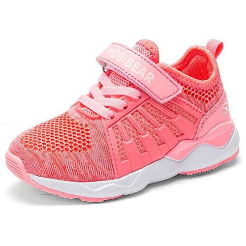 Kyopp Laufschuhe Kinder Turnschuhe für Mädchen Jungen Sportschuhe Kinderschuhe Outdoor Sneakers Klettverschluss Atmungsaktiv Unisex(6#Pink 28EU)