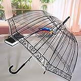 Parapluie Cage À Oiseaux Transparente Parapluie Dessin Animé Construction Parapluie Semi-Automatique Parapluie Long Manche Enfants Parapluie Bluebird