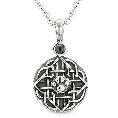 Amulet Celtic Shield Knot Magic Wolf Paw Simulated Black Onyx Protection Power Pendant 18 Inch Necklace