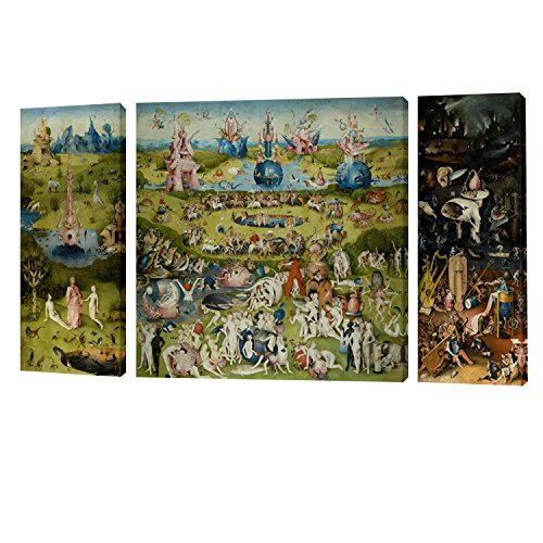 Fajerminart 3 Paneles Cuadro De Madera Pintura - Famous The Garden of Earthly Delicias Cielo/Mundo / Infierno Cuadro En Lienzo Tamaño Total 100x60cm (20x60cm + 60x60cm + 20x60cm)(Marco De Madera)