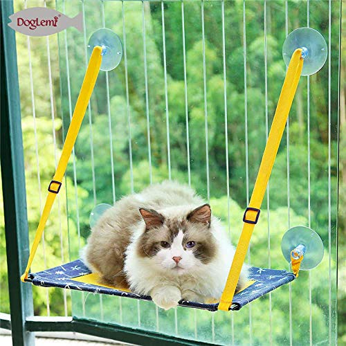QTCD Pet bed Cat hanging hammock drying hanger, water suction faucet, hippocampus chair cushion installed on the window, pet hanging hanging mesh, hanging sunbed hammock fanghua