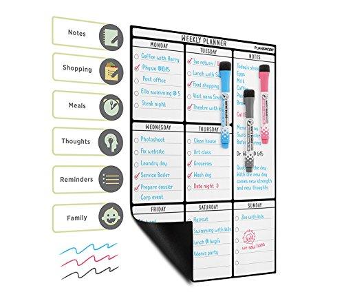 A3 Magnetischer Abwischbarer Wochenplaner – Dry Erase Kühlschrank Magnettafel Whiteboard von Plan Smart – BONUS: 3 Hochwertige Marker mit Radierer