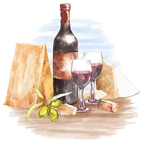 dekodino® Wandtattoo Aquarell Wein und Käse Küche Esszimmer Deko
