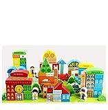 Lalia Bauklötze echtes Holz 100 Teile XL großes Set Bausteine für Kinder ab 3 Jahren. Für Mädchen und Jungs. Tolles Geschenk. Holzspielzeug, Spielzeug bunt mit Spielmatte