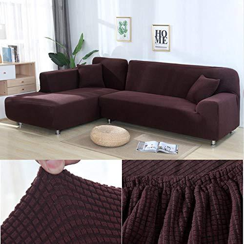 HJKHJK Fundas Gruesas de sofá Jacquard para Sala de Estar para sofá en Forma de L Funda de sofá Funda de Spandex Material elástico-Chocolate, AA 235-300cm