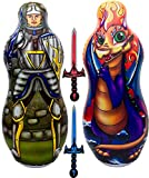 Inflatable Punching Bag & Foam Sword Set   One 48' Tall Double Side Bop Bag (Knight on One Side & Dragon on Reverse Side) and Two Soft Swords   by Imagenius Toys