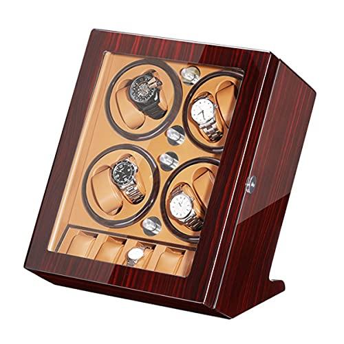 Caja De Reloj Automático Caja De Reloj Rotativa 8+5 Display De Almacenamiento De Relojes Con Motor Silencioso,Apariencia De Pintura De Piano,Almohada Ajustable ( Color : Wood+yellow , Size : 8+5 )