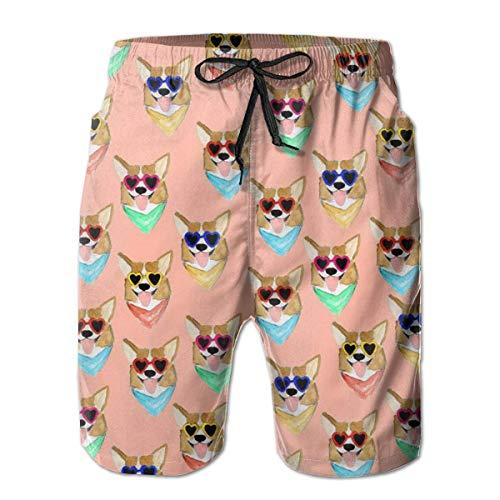 Hunter qiang Shorts de Playa con bañador clásico para Hombres con Bolsillos (Gafas de Sol Coloridas Corgi Love) XL