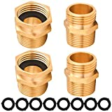 M MINGLE Garden Hose Adapter, 3/4 Inch GHT to 3/4 Inch NPT Brass Connector, with Extra 8 Washers