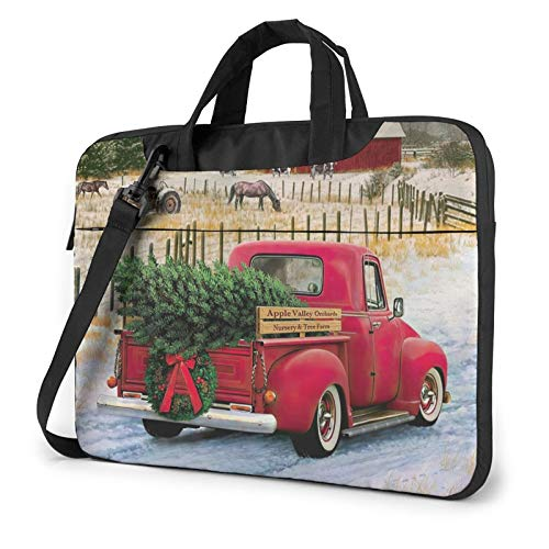 XIAONI Christmas Red Truck Laptop Shoulder Bag Compatible with 13-15.6 Inch MacBook Pro,MacBook Air,Notebook Computer,Removable Shoulder Strap Waterproof Carrying Briefcase Sleeve for Men Women