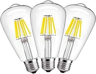 ILAMIQI E27 6W Vintage Edison LED bombilla ST64 antiguo filamento LED lámpara sustituye a 60 W 2700 K blanco cálido, no regulable, pack de 3