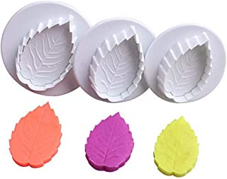 New Product Set of 3 Plastic Cookie Cutter Cake Rose Leaf Plunger Fondant Decorating Sugar Craft Mold Cutter Tools