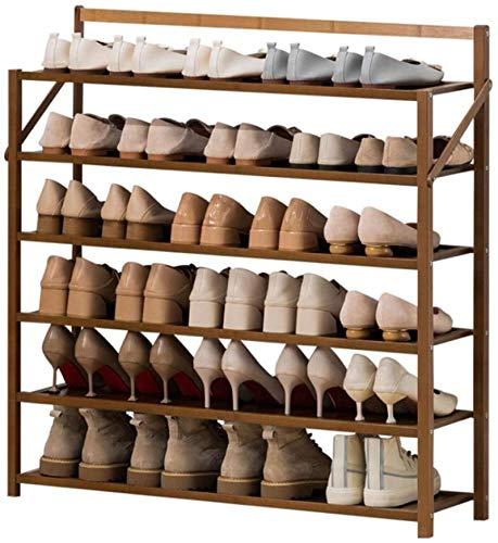 Ranuras de zapato ajustables Organizador Bastidore Rack de zapatos 6 niveles bastidores de zapatos plegables de bambú Soporte de zapato moderno Sencillez Hogar Puerta Estante de zapata Sala de pasillo