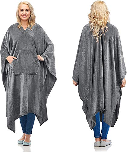 Shuang Manta de felpa súper suave y cómoda manta de TV para adultos y niños de 139 x 203 cm gris