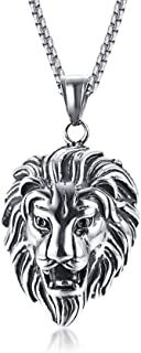 "JoyeVic Men's Stainless Steel Lion Pendant Necklace, 24"" Link Chain"
