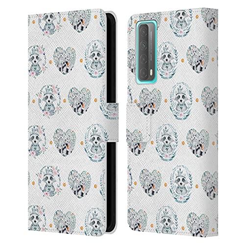 Head Case Designs Officially Licensed Kristina Kvilis Mapache Animales Carcasa de Cuero Tipo Libro Compatible con Huawei P Smart (2021)
