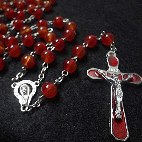 Yiffshunl Collar Mujer Collar Virgen San Cristo Cruz Collar Encantador Collar de Perlas de Vidrio Rojo Rosario Cristiano Oración Joyería con Cuentas policromadas