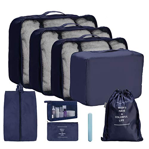 OrgaWise Packing Cubes Travel Storage Bags 9 Pcs Packing Organizer Set, Multi-Functional Clothing Sorting Packages,Travel Packing Pouches with Shoe Bag & Cosmetic Bag (9pcs Navy Blue)